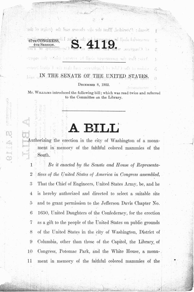 "The first page of the bill to sponsor the monument to colored ""mammies."" (NAID 4685889"""