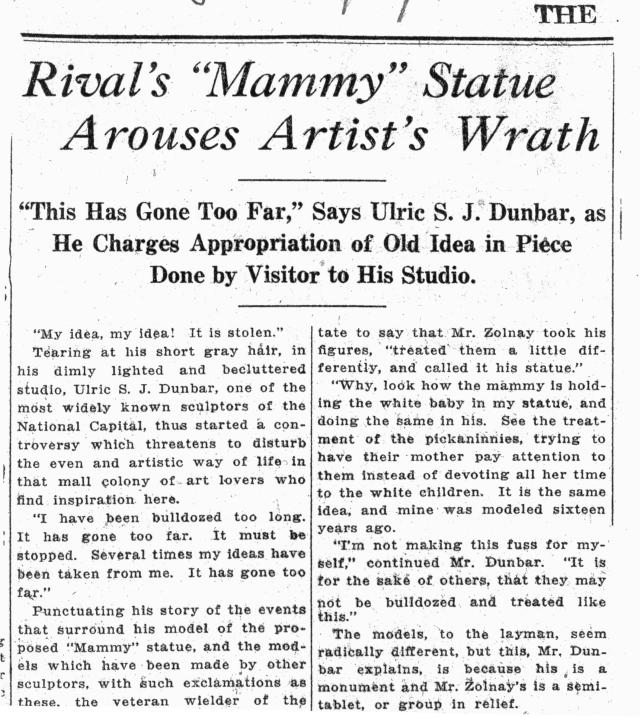 Article about the Rivalry over the mammy statue design (NAID 4685889)
