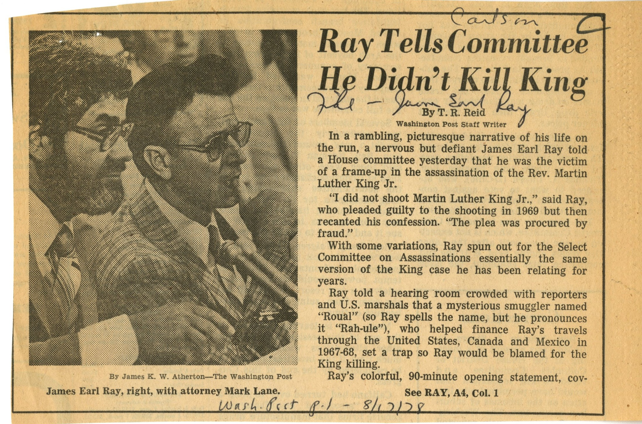 Image result for james earl ray pleads guilty to all assassination