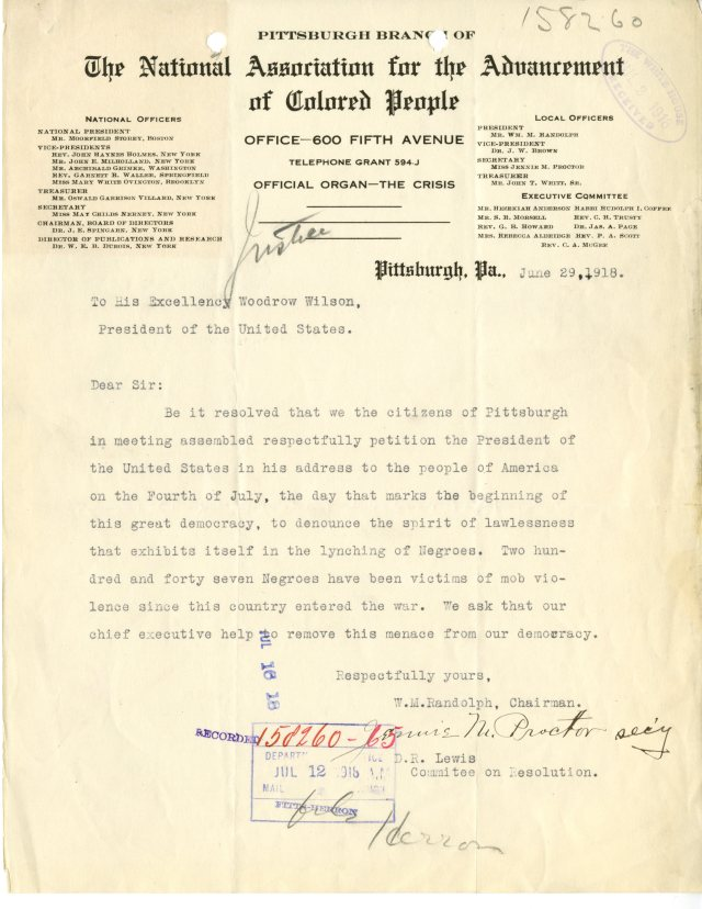Letter from William Randolph, Pittsburgh NAACP to President Woodrow Wilson, 06/29/1918