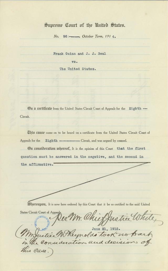 Judgment Frank Guinn v. U.S. (1)