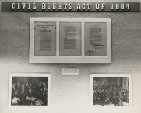 Civil Rights Act of 1964 on display at the National Archives in Washington, D. C.