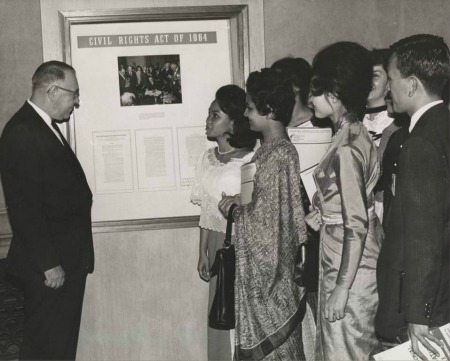Deputy Archivist Robert H. Bahmer with Foreign Tour Guides from the World's Fair, August 21, 1964
