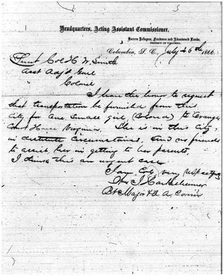 Records of the Assistant Commissioner for the State of South Carolina, Bureau of Refugees, Freedmen, and Abandoned Lands, 1865-1870; microfilm publication M869, roll 44, frame 263.