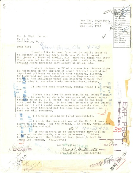 Letter from Alice Guillemette to J. Edgar Hoover