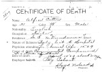 Alfred Cotton, from series Death Certificate Cards (NAID 7408557)