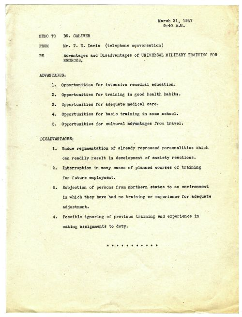 Memo to Caliver from T. E. Davis, dated March 21, 1947 relating to the