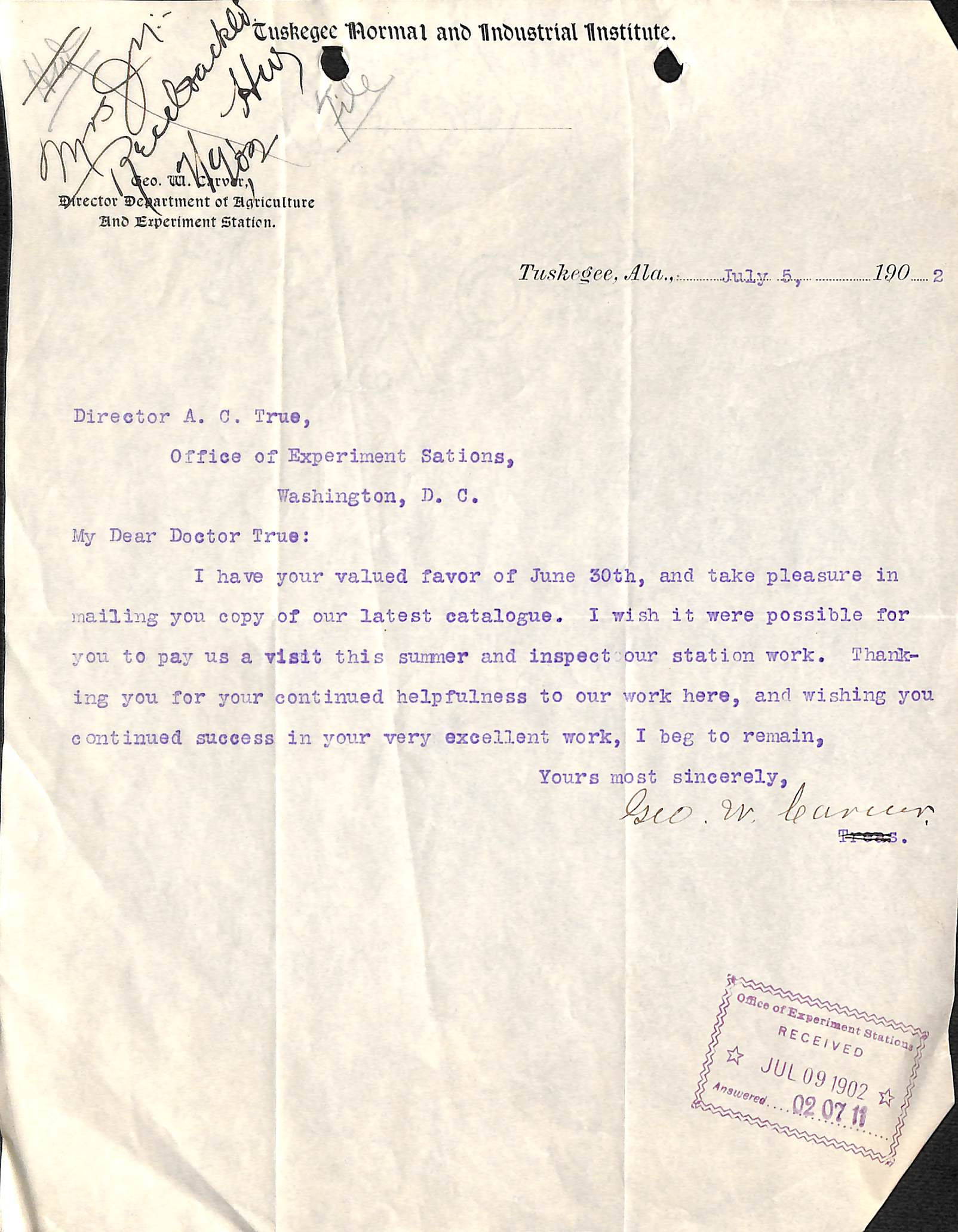 George Washington Carver And The Agricultural Experiment Station  Letter From George Washington Carver To A C True Dated July   Naid