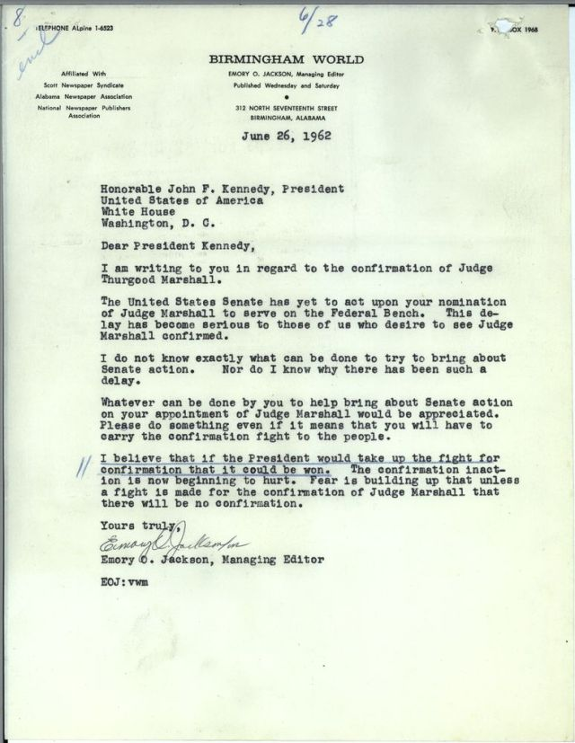 Letters from the general public urging presidential action to push Thurgood Marshall's nomination through the subcommittee. [JFKWHCNF-1736-004-p0008]