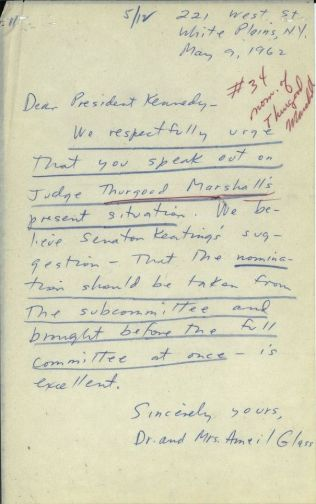 Letters from the general public urging presidential action to push Thurgood Marshall's nomination through the subcommittee. [JFKWHCNF-1736-004-p0061]