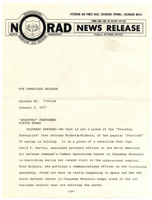 NORAD press release regarding Nichelle Nichols' visit to NORAD