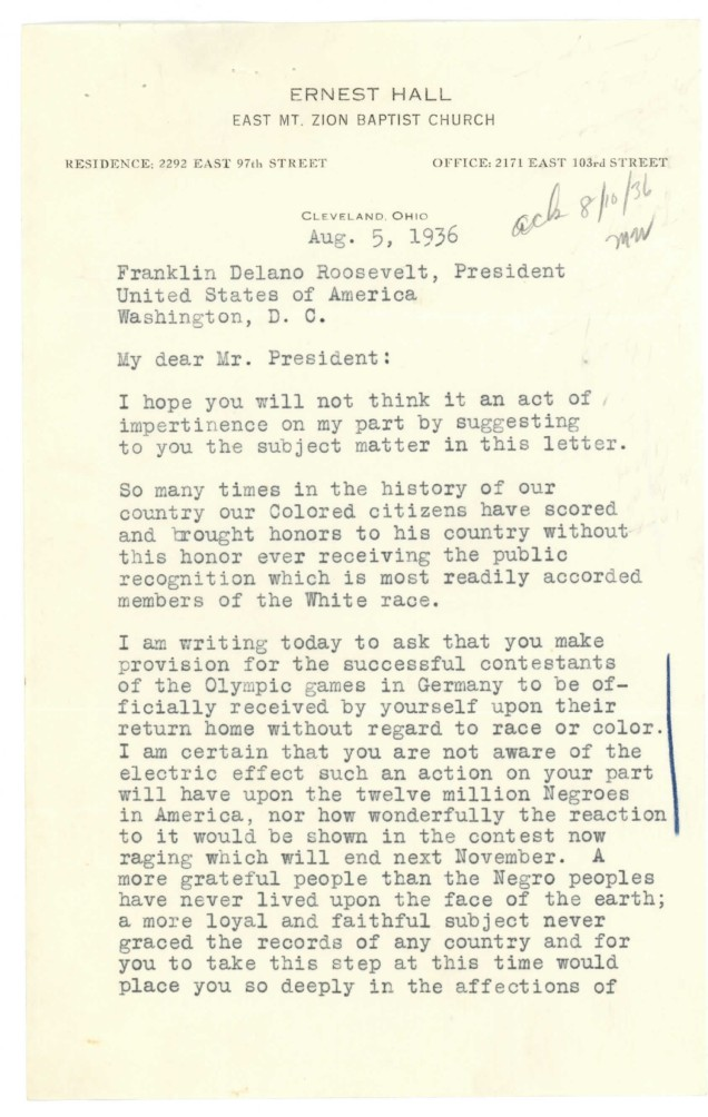Letter from Pastor Ernest Hall to President Roosevelt, 8/5/1936