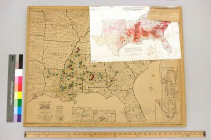 Burke Marshall's map of voter discrimination cases and close-up image of the map's key. [BMPP-061-015]