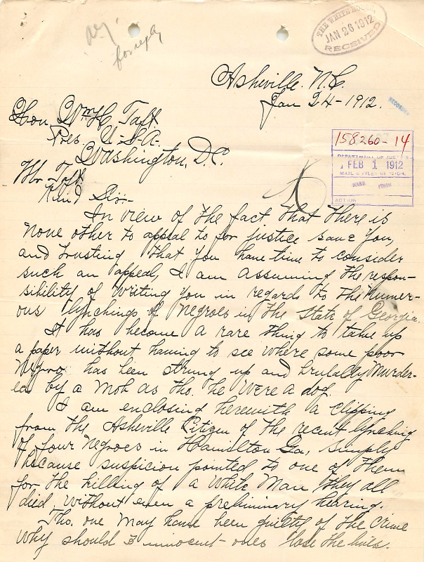Letter to President William Howard Taft from E. D. Rosemond (NAID 583895), page 1
