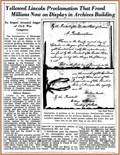 Emancipation+Proclamation+75th+Anniversary+Display+-+Washington+Post,+Sept.+26,+1937