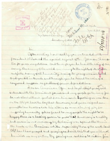Letter from Esther Haith to Secretary of State Robert Lansing, 11/18/1918 p1